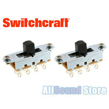 TWO PACK Switchcraft On-Off-On Slide Switches For Fender Mustang Jag Stang BLACK