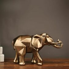Modern Abstract Golden Elephant Statue Resin Ornament Home Decoration Accessory