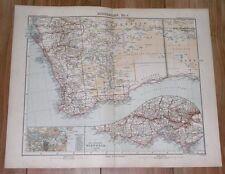 1905 ANTIQUE MAP OF WESTERN AUSTRALIA PERTH / SYDNEY VICTORIA MELBOURNE INSET