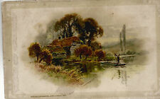 Cottage and Boatman on a Lake   Copyright 1912  Postcard  8124
