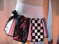 skulls Roller Derby Skirt Black white pink spotted Cheerleader Party festival