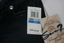 Seven 7 Jeans, Juniors Size 1 Dark Blue New with Tags Slim 32 Cotton Blend