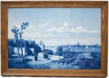 Beautiful Vintage Dutch Delft 6 Tile Painting After Vermeer Dutch City Harbor!
