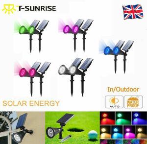 T-SUN (2 Pack) LED Solar Spot Lights Waterproof Outdoor Garden Yard Path Lamp UK