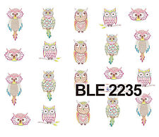 COLOURFUL OWL Water Transfers Nail Art Sticker Decals UV Acrylic Decoration
