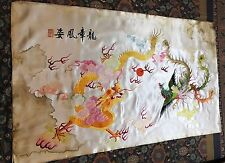 "Antique Chinois + JAPONAIS Wall Hanging Hand Broderie Soie Art textile 27""By46"""