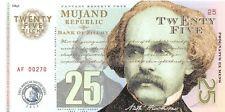 Mujand Republic Banknote 25 Zilchy 2013 Unc Specimen, Private, Note