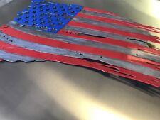 Patriotic torn American Flag Metal Wall Art 36u201d x 22u201d Made in USA & Metal Patriotic Wall Sculptures | eBay