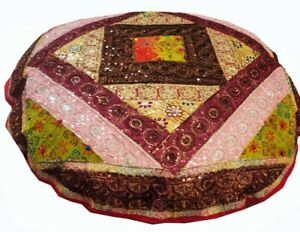 """40"""" RED  ANTIQUE SARI ART DÉCOR BEAD FLOOR THROW BED CUSHION PILLOW COVER IND"""
