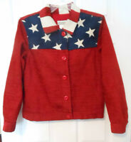 Coldwater Creek Patriotic Red White Blue Flag Jacket Stars Stripes Sz PS ~ USA