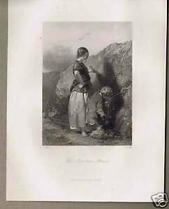 Child Drinking from THE MOUNTAIN STREAM Steel Engraving