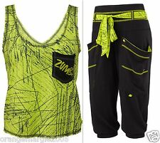 ZUMBA FITNESS 2 PIECE SET!! Do it for Fame Capri Pants & Shirt Top Tank Z1BOO156
