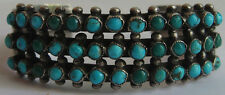 VINTAGE NAVAJO INDIAN SILVER GREEN BLUE SNAKE EYE TURQUOISE THREE ROW BRACELET