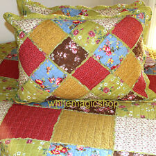 Vintage Patchwork Cotton Quilted Bedspread 3 Piece Set Colourful Country Queen
