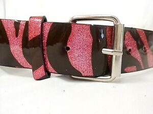 Justice Girls/ Teens Pink Zebra Print Glitter Belt Size XS S M L