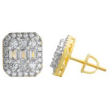 Men'S 14k Gold & реальные чистое стерлинговое серебро со льдом багет бриллиант серьги-гвоздики