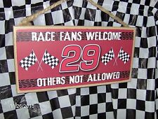"""# 29 Race Fans Welcome Wood 10"""" x 5 x .25"""" Sign"""