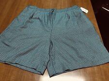 Vintage Women Bermuda Shorts High Waist Pleated Button Green Plus Size 18W