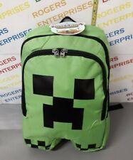 """ThinkGeek Mojang Licensed Minecraft Creeper 18"""" Padded Backpack School Sport Bag"""