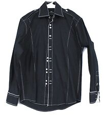 Steven Land Fitted Shirt 100% Cotton Black Mens Topstitching 40/M Square Button