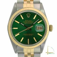Men's Rolex Datejust Watch 36mm 18k Gold and Steel Green Index Dial Fluted Bezel