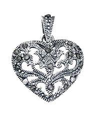Collares y colgantes de joyería de plata de ley, con amor y corazones