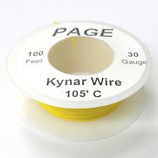 100' Page 30AWG YELLOW KYNAR Insulated Wire Wrap Wire 100 Foot Roll  Made In USA
