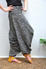 Harem Thai Fisherman Pants Mens Yoga Baggy Boho Aladdin Cotton, Tradition Stone