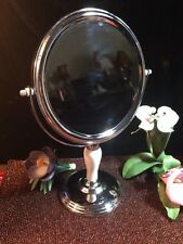"CLASSIC 2-SIDED ROUND COSMETIC MIRROR PORCELAIN STAND SILVER METAL13.3"" HIGH"