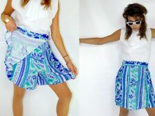 VTG 80s High Waist Painted Floral Hawaiian Wide Leg Crossover Skort Skirt Sz M