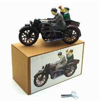 Vintage Moto Con Passenger IN Sidecar Motore Triciclo Vento Up Latta Giocattolo