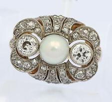 Ring in aus 14 kt 585er Gelb Gold mit Brillant Brillanten Diamanten Perle Perlen