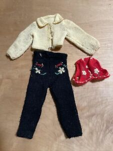Cute, Vintage, Hand Knit Outfit For Mary Hoyer Dolls-pants, Top & Vest