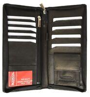 Leather Travel Wallet Passport Airline Ticket Case Zippered Checkbook New Black