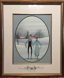 """P Buckley Moss """"Together We Walk"""" Double Signed, Rare, Sold Out. Frame 23x20"""