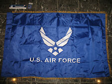 3x5 Embroidered Airforce Wings 210D Nylon Flag Double Sided Sleeve Gold Fringe