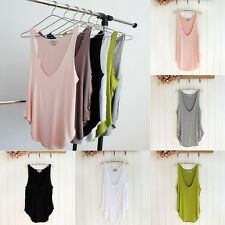 Fashion Woman Lady Sleeveless V-Neck Candy Color Vest Loose Tank Tops T-shirts