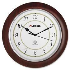 """Lorell Wall Clock, Arabic Numerals, 13-1/4"""", White Dial/Woodgrain 60986"""