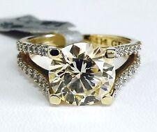 14K Yellow Gold Split Shank Fancy Yellow Cubic Zirconia Engagement Ring, 10mm CZ
