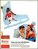1967 Couple ice skating smoking Winston cigarettes vintage photo print ad adl85