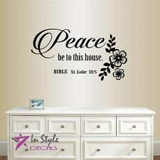 Vinyl Decal Peace Be to This House Bible Verse St Luke 10:5 Quote Sticker 611