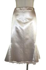 Class Roberto Cavalli  Flute Skirt Beige Liquid Satin Knee Length Size 10