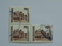 """DDR 70 Pfennig(.) Freimarke 1990 mit Plattenfehler Mi 3348 III im """"Dreierblock"""""""