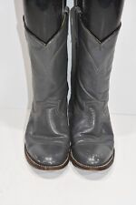 WOMENS 4 D GRAY LEATHER MADE IN MEXICO CLASSIC WESTERN COWBOY BOOTS ROPERS