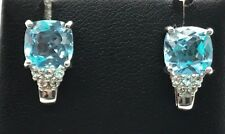 Sterling Silver 925 Cushion Faceted Blue Aquamarine CZ Accent Stud Post Earrings