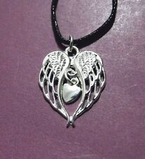 Angel Wings Dangle Heart Silver Plated Pendant Adjustable Necklace
