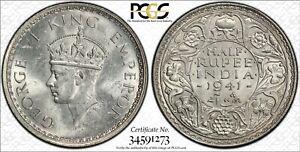 1941B British India 1/2 Rupee. PCGS MS63