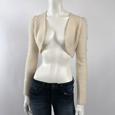 Diane Von Furstenberg : XS P 0 : Ivory Long Sleeve Sweater Cardigan Shrug Bolero