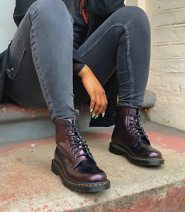 Dr. Martens 1460 PASCAL METALLIC LEATHER BOOTS Chroma Cherry Red Great Reviews