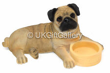 PUG Pup With Bowl Dog Ornament Figurine by The Leonardo Collection NEW & BOXED